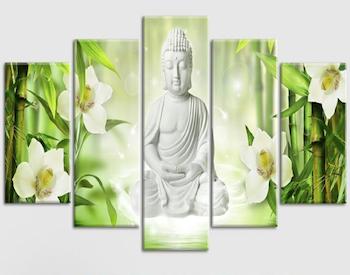 Cuadro Buda flores orquidea