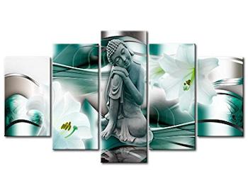 Cuadro Buda flor azucena